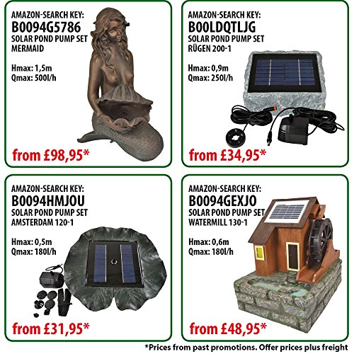 NEU! INNOVATIVE SOLAR TEICHPUMPE Oasis 200-3 Li&LED Solar-Teichpumpen-Set mit AKKU LED LICHT GARTENBRUNNEN SPRINGBRUNNEN für Gartenteich Solarbrunnen Springbrunnen mit STABILEM ALU-RAHMEN -