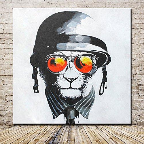 YHXIAOBAOZI Ölgemälde Auf Leinwand Ölgemälde,Abstrakte Tiere 100% Reines Öl Gemalt Orange Sonnenbrille Löwe Großes Modernes Pop-Art-Kunsthandwerk-Bild Für Wohnzimmerdekoration 80×80Cm