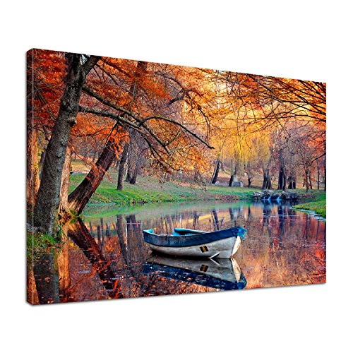 Leinwand Bild edel Natur Herbst am See Größe 80 x 60 cm