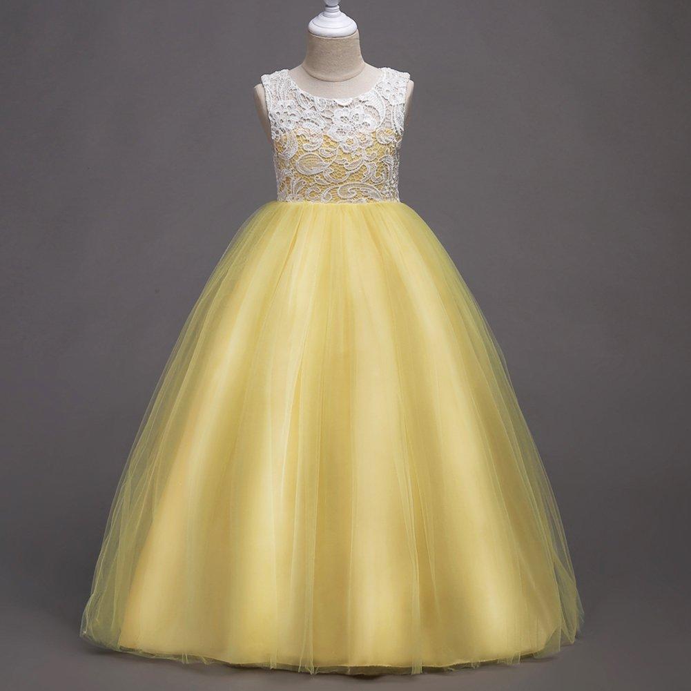 Mädchen Lange Spitzenkleid Tüllkleid Blumenspitze Kleid Hochzeit Partykleid Brautjungfern Abendkleider Blumenmädchenkleider Gelb 6-7 Jahre