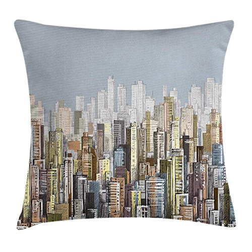 Urban Decor Throw Pillow Cushion Cover, Hand Drawn Vector City Landscape of Skyscrapers and The Sky Illustration, Decorative Square Accent Pillow Case, 18 X 18 inches, Blue Grey Silver International Silver Magnolia