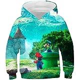East-hai-buy Suéter de Super Mario, Sudaderas con Capucha 3D para niños, Dibujos Animados de Anime, Chaqueta con Estampado de