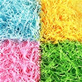 Auihiay Shredded Tissue Paper Raffia Basket Shreds Crinkle Paper in Yellow, Pink, Green, Blue for Easter Decoration Hamper Filling and Gift Packaging, 200g