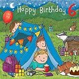 Twizler Geburtstagskarte zum 6. Geburtstag, für Jungen, englischsprachige Aufschrift, Motiv mit Kuchen, Camping, Geschenken und Glitzer,Kindergeburtstag