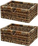 Stabiles Set / 2 Regalkorb mit Holzrahmen Schubfach aus echtem Rattan / Schübe Box zur Aufbewahrung Regalkorb Schrankkorb Griff (Mehrfarbig, 42x32x17)