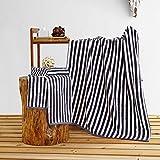 JUNHONGZHANG 3 STK. Blau Weiß Gestreift 100% Baumwolle Handtuch Set 34 * 80 cm Handtuch 70 * 140 cm Badetuch Garn Gefärbt Soft Home Badetuch, Schwarz