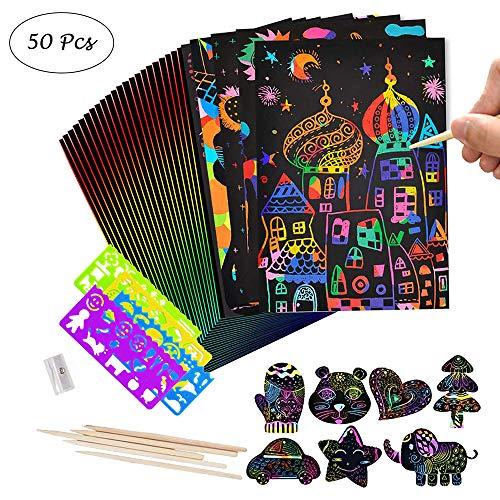 Scratch Art, 50 Rainbow Scraping Art e Artigianato Per Bambini Black Magic Scratch Art Paper, Con 5 Penne Stilografiche In Legno e 4 Righelli Da Disegno e 1 Temperamatite (18.5 * 26 Cm)