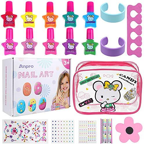 Anpro set di smalti per unghie per principessa - comodo kit per nail art con smalto per unghie staccabile manicure beauty per bambine