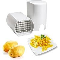 FuSon Machine de découpe de pommes de terre Machine de coupe de frites Coupeuse de légumes multifonction (blanc)