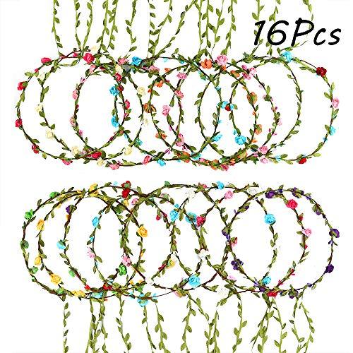 FEPITO 16 Stück Blume Krone Blume Stirnband Garland Blumenkranz Stirnband für Festival Hochzeit