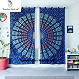 GANESHAM HANDICRAFTS - Indische Mandala Wand Hängende Tapisserie Pfau Mandala Fenster Vorhänge Indische Drape Balkon Zimmer Dekor Vorhang Boho Set Ethnische Fenster Behandlungen & Handmade Vorhang