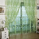 Floral Printed Tulle Voile Window Curtain Sheer Drape Panel 200x100CM Green