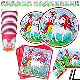 Kompanion Set Servizio da 82 Pezzi a Tema Unicorno Include Banner Piatti Bicchieri Tovaglioli e Tovaglie Servizio per 20