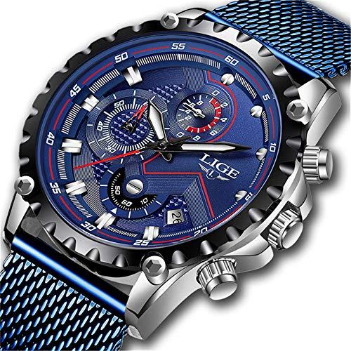 Herrenuhren Wasserdicht Sport Chronograph Datum Mesh Edelstahl Blau Armbanduhr Männer Luxury Business Analoge Uhren für Männer