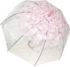 ZooBoo Outdoor Regenschirm Windschirm Transparent - Romantisch Durchsichtig Geschmackvoll Halbautomatisch Regenschutz mit Kirschblüten Kuppel Wölbung Winddicht Dekoration