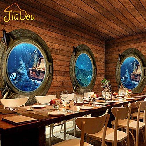 Ohcde Dheark Custom 3D Stereo Pirat Holz Wandbild Tapete Retro Adventure Theme Bar Restaurant Coffee Shop Wallpaper Home Decor 430cmX300cm(169.3 by 118.1 in (Custom Piraten)