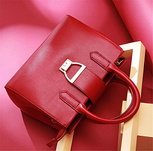 Xinmaoyuan Borse Donna Autunno E Inverno Borsa In Pelle Di Colore Puro Sezione Trasversale Borsa Fibbia Spalla Pacchetto Diagonale, Rosso Rosso