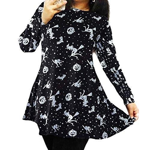 hibote Frauen Skater Swing-Kleid mit langen Ärmeln, bedrucktes Ober A9