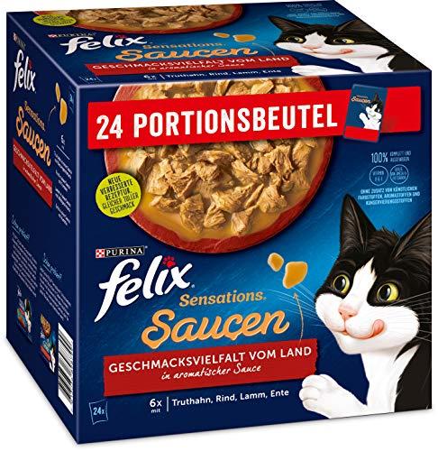 Felix Katzennassfutter Sensations Saucen Geschmacksvielfalt vom Land , 4er Pack (4 x 24 x 85g) Portionsbeutel