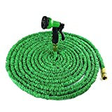 Nuzamas giardino tubo acqua tubo estensibile 100ft con tutti i raccordi in ottone 8Modello pistola a spruzzo ugello e lavaggio ad alta pressione, {migliorata} espandibile 10m-30m in lattice interno verde