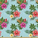 ABAKUHAUS Hawaii Stoff als Meterware, Blühende Hibiscuses,