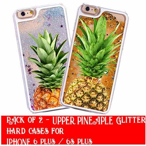 2Stück-iPhone 6Plus/6S Plus Kompatibel, Glitzer Sommer Juicy Oberen Ananas Serie Dynamic Hard Case Bumper für Apple Clear Cover-Silber Glitzer Ananas + Gold Glitzer Ananas