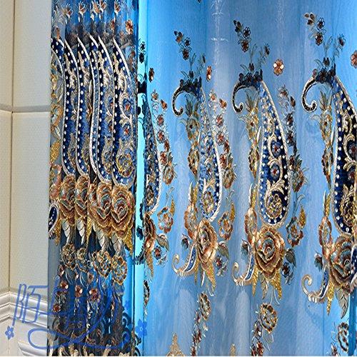 HiMqhy Gehobene elegante Seide samt bestickte Vorhänge Blau Luxus reichen Drucken Blume Garn Vorhang Wohnzimmer Schlafzimmer Schatten Vorhänge fertigen Gardinen Private Custom, Garn, Vorhänge, Custom/M (Licht Blauer Seide Vorhänge)