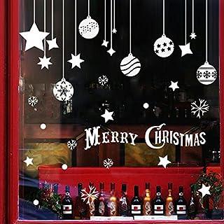 Extsud 2 Pcs Sticker pour Fenêtre Vitrine Vitre Autocollant Mural Boule Étoile Flocon de Neige