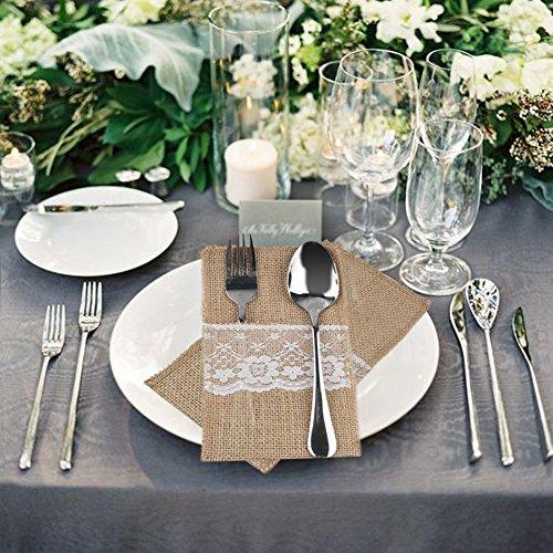 Preisvergleich Produktbild DIS 50 Stück Natur Jute Sackleinen&Lace Rustikales Besteck Messer und Gabeln Besteck Set Bestecktasche Halter Party Hochzeit Dekor , 4 x 8 inch