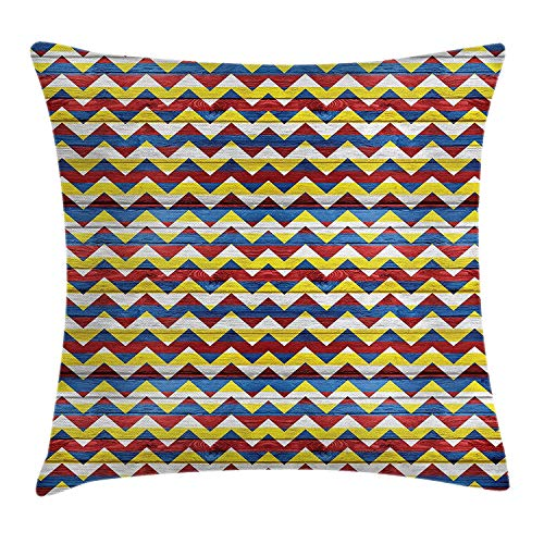 Trsdshorts Chevron Decor Throw Pillow Cushion Cover, Chevron Shapes in Retro Colors Simple Geometrical Figures Coat Arms Decor, Decorative Square Accent Pillow Case, 18 X 18 inches, Blue Geen Red Dragon Silk Coat