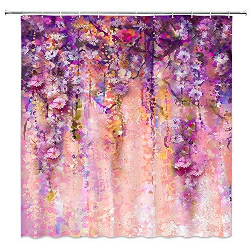 AMNYSF Fashion Design Decor Vorhang für die Dusche 177,8x 177,8cm Polyester-Schimmelresistent-Vorhänge, Wasserdicht, mit 12Haken Modern Multi-326 (April Showers-stoff)