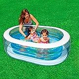 Baby-Swimmingpool-aufblasbares Swimmingpool-Kinderplanschbecken Baby-Bad verdicken erwachsene Badewanne, blaues transparentes, 163 * 107 * 46cm