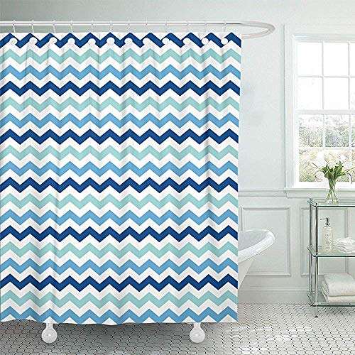 Bellagio Duschgel (LINGJIE Duschvorhang 60X72 inch Abstract Blue Mint White Chevron Pattern Artistic Classic Continuity Creative Drawing Waterproof Polyester Fabric Adjustable Hook)