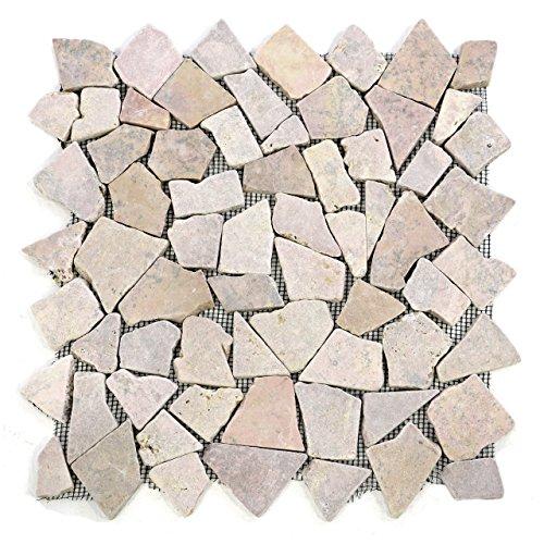 Divero 9 Fliesenmatten Naturstein Mosaik aus Marmor für Wand und Boden beige/rosa á 35 x 35 cm