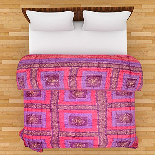 GRJ INDIA Jaipuri World Famous Light weight Pure Cotton Traditional Gold Print Pink Colour Reversible Double Bed Quilt /Razai / Rajai