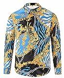 Pizoff Herren luxus palace Still fashion langärmliges Hemd Hip-Hop Tops mit Edelstein golden Halskette Tiger Druckmuster