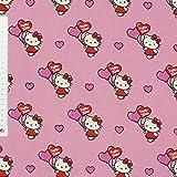 Dekostoff Hello Kitty Katze mit Herzluftballon pink rosa weiß