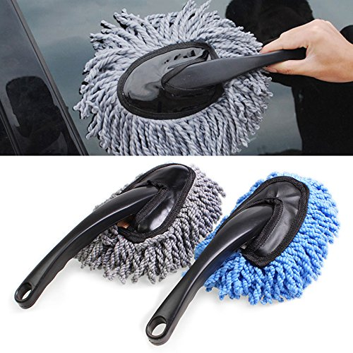 Microfiber brush for cleaning car dust, for household cleaning blue