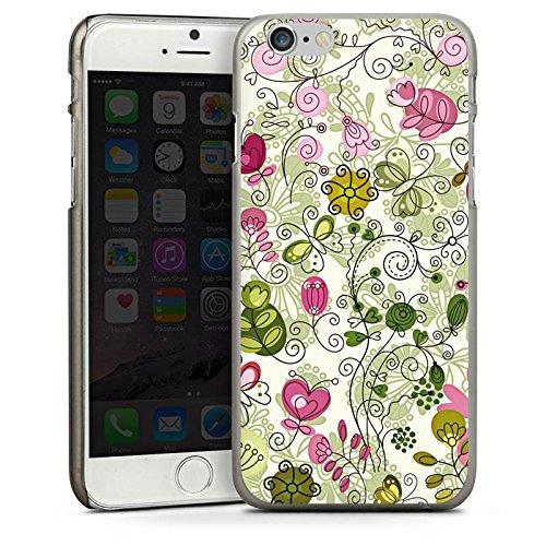 Apple iPhone 4 Housse Étui Silicone Coque Protection Papillons Fleurs Fleurs CasDur anthracite clair