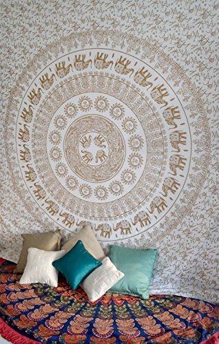 Oro blanco elefante Mandala tapiz colgante de pared Hippie bohemio indio colcha de pared Arte Tamaño de la Reina ropa de cama para dormitorio medallón Yoga Meditación manta de Picnic propagación Boho Gypsy dormitorio decoración de la habitación