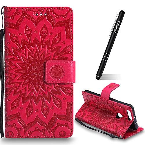 Huawei Honor 8 Hülle,Slynmax Wallet Ledertasche Schutz Huawei Honor 8 Hülle Lederhülle Briefcase Sonnenblume Leder Tasche Flip Brieftasche Lederhülle Slim Handyhülle Klapphülle mit Stand Karte,Rot