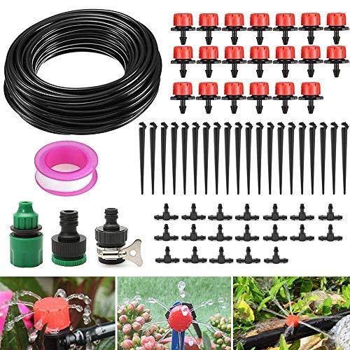 DAMIGRAM 15M Kit per Irrigazione a Goccia DIY Kit di Micro Irrigazione Automatico a Tubo Terrazzi Giardini per Impianto di Serra, Aiuola, Patio, Prato Inglese
