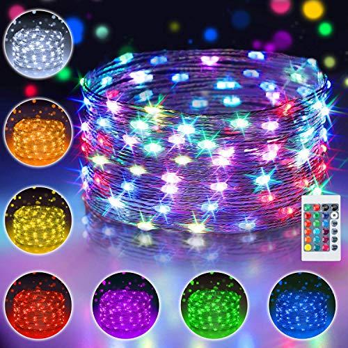 10M 100 LED Bunt Lichterkette Außen, 16 Farben USB Kupferdraht Lichterkette Wasserdichte mit Fernbedienung & 4 Modi, IP65 Farbwechsel Fairy Lights fur Hochzeit, Weihnachtsbaum, Party, Kinderzimmer