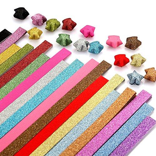 Origami Paper Stars GLITZER zusammenklappbar Lucky Star Streifen, 16Farben 250Blatt