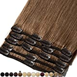 Extension Cheveux Naturel a Clip Chatain Clair #06 Châtain clair - Volume Moyen 8 Pcs - 100% Human Hair Extensions Clip in Remy 33cm-80g