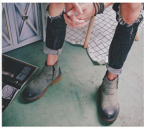 Hl-pyl-new Martin Botas Hombres Para Ayudar A La Moda Y El Ocio De Edad Para Ayudar A Las Botas Grises