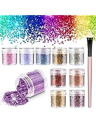 Maquillage Paillettes, 10 Boîtes Cosmétique Visage Cheveux Yeux Ongles & Corps Sparkle Chunky Glitter Paillette pour Festival Noël