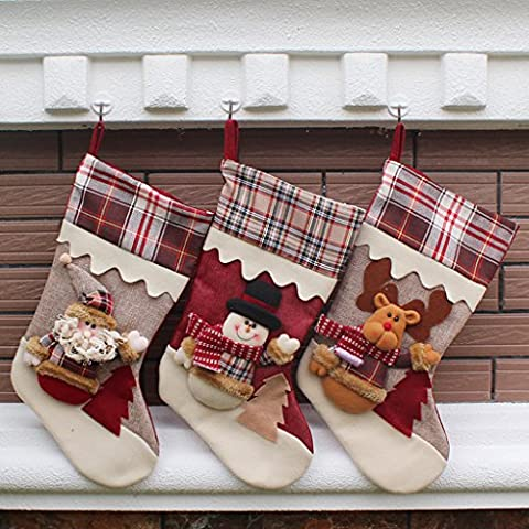 Finerolls 3PCS calcetines de Navidad Calcetín Calcetines de regalos para Navidad colgantes del árbol Medias de Papá Noel Copo de Nieve Muñeco de nieve decoración navideña