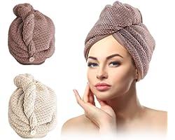 Serviette Cheveux,Serviette Turban,Cheveux Secs Cap,Serviette pour Cheveux, Serviette de tête avec Bouton Microfibre à séchag