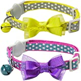 Blueberry Pet Pack of 2 Cat Collars, Valentine Day Square Dots Adjustable Breakaway Small Cat Collar with Bow Tie & Bell , Neck 23cm-33cm